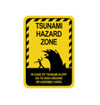 sign warning of a tsunami vector image vector image
