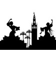 silhouette of two flamenco dancers palm trees and vector image
