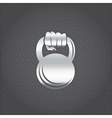 silver hand holding kettlebell design template vector image vector image