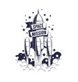 space rocket launch - vintage emblem with ribbon vector image vector image