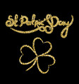 St patricks day golden lettering with clover