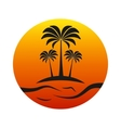 sunset island with palm trees vector image vector image