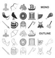 vikings and attributes monochrom icons in set vector image vector image