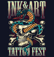 vintage tattoo fest advertising template vector image vector image