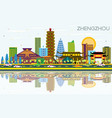 zhengzhou china city skyline with color buildings vector image vector image