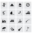 black camping icons set vector image