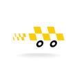 Taxi logo Checkers symbol Moving dynamic auto car vector image