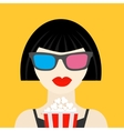 3D glasses and big popcorn Brunet girl at the vector image vector image