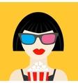 3d glasses and big popcorn brunet girl