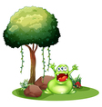 A happy monster near the tree vector image vector image
