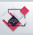 abstract geometric shape frame on grey and red vector image vector image