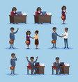 black businesspeople in set of icons vector image