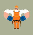 builder strong worker in protective helmet vector image vector image