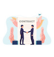 businessman shaking hands with contract document vector image