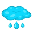 Clouds and rain icon cartoon style vector image
