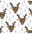 cute cartoon pattern with deers and trees vector image vector image