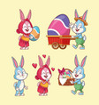 easter eggs and rabbits vector image