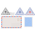 envelope stamp and triangle postmarks postal set vector image