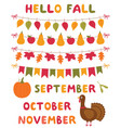 fall decoration and design elements set vector image vector image