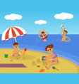 family on beach summer vacation vector image vector image