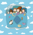 family sleep in bed cartoon mom dad and vector image