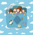 family sleep in bed cartoon mom dad vector image vector image