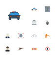 flat icons jail building walkie-talkie and other vector image vector image
