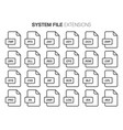 flat style icon set system file type extencion vector image vector image