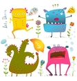 Fun Cute Kind Monsters for Children Design vector image vector image