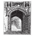gate of merton college door vintage engraving vector image vector image
