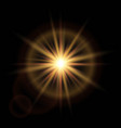 golden glow light effect star burst with sparkles vector image