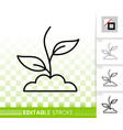 green grass simple black line icon vector image