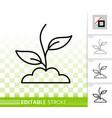 green grass simple black line icon vector image vector image