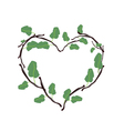 Green Leaves and Twigs in A Beautiful Heart Shape vector image vector image
