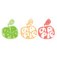 green orange and red apples silhouette fresh vector image
