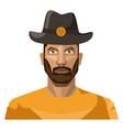 guy with beard wearing hat on white background vector image vector image
