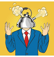 hand drawn pop art of businessman with the kettle vector image