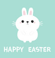 happy easter white bunny rabbit hare icon funny vector image