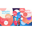 happy new year banner with man and woman in santa vector image vector image