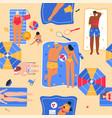 happy people sunbathing on beach in top view vector image