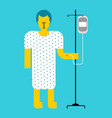 hospital patient with dropper sick man vector image vector image