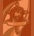 jesus face design with cross on colored background vector image