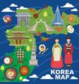 korea map korean characters culture vector image