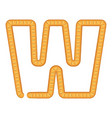 letter w bread icon cartoon style vector image