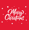 merry christmas hand lettering white text with vector image