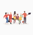 mix race people group using digital devices social vector image vector image