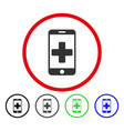 mobile medical help rounded icon vector image vector image