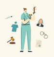 nurse or doctor female character in medical mask vector image
