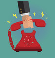 picking up the vintage retro telephone ringing vector image vector image
