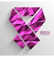 Polygonal ribbon cancer background concept vector image vector image